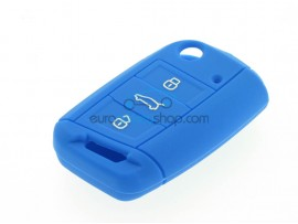 Key Cover Volkswagen - 3 button - material Soft Rubber- Color Dark Blue - after market product