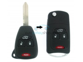Jeep 3 Button Remote Flip Key Fob Case + panic button for item number JEE105B - after market product