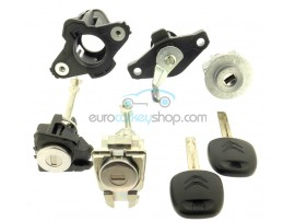 Complete lock set for Citroen C1 - (2005 - 2014 ) - for models without remote control - OEM product