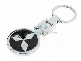 Mitsubishi Keyring - luxury version - with logo on both sides - color black - after market product
