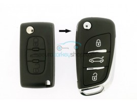 Peugeot 3 Button Flip Remote Key - 407 - 2008 - 2010 - after market product