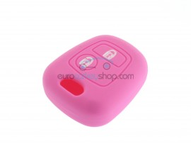 Key Cover Peugeot - 2 button- material Soft Rubber- Color PINK - for articlenr PEU101 - PEU102 - PEU105 - PEU106 - after market product