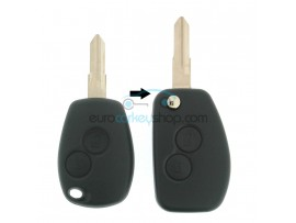 Dacia 2 Button Remote Flip Key Fob Case for item number DAC115A - key blade VAC102 - with Renault logo - after market product