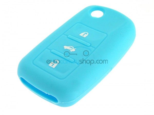 Key Cover Seat - 3 button- material Soft Rubber- Color Light Blue - after market product