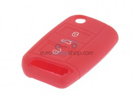 Key Cover Volkswagen - 3 button- material Soft Rubber- Color Red - after market product