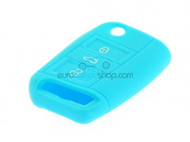 Key Cover Volkswagen - 3 button- material Soft Rubber- Color Light Blue - after market product