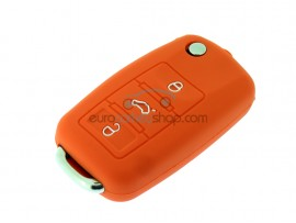 Key Cover Skoda - 3 button- material Soft Rubber- Color Orange - after market product