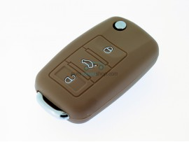 Key case Seat - 3 button- material Soft Rubber- Color Brown - after market product