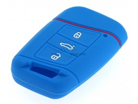 Key case Volkswagen - for keyless models - 3 button- material Soft Rubber- Color Dark Blue - after market product