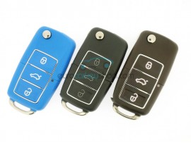 Volkswagen 3 Button Flip Remote Key - key blade HU66 - various colors - after market product